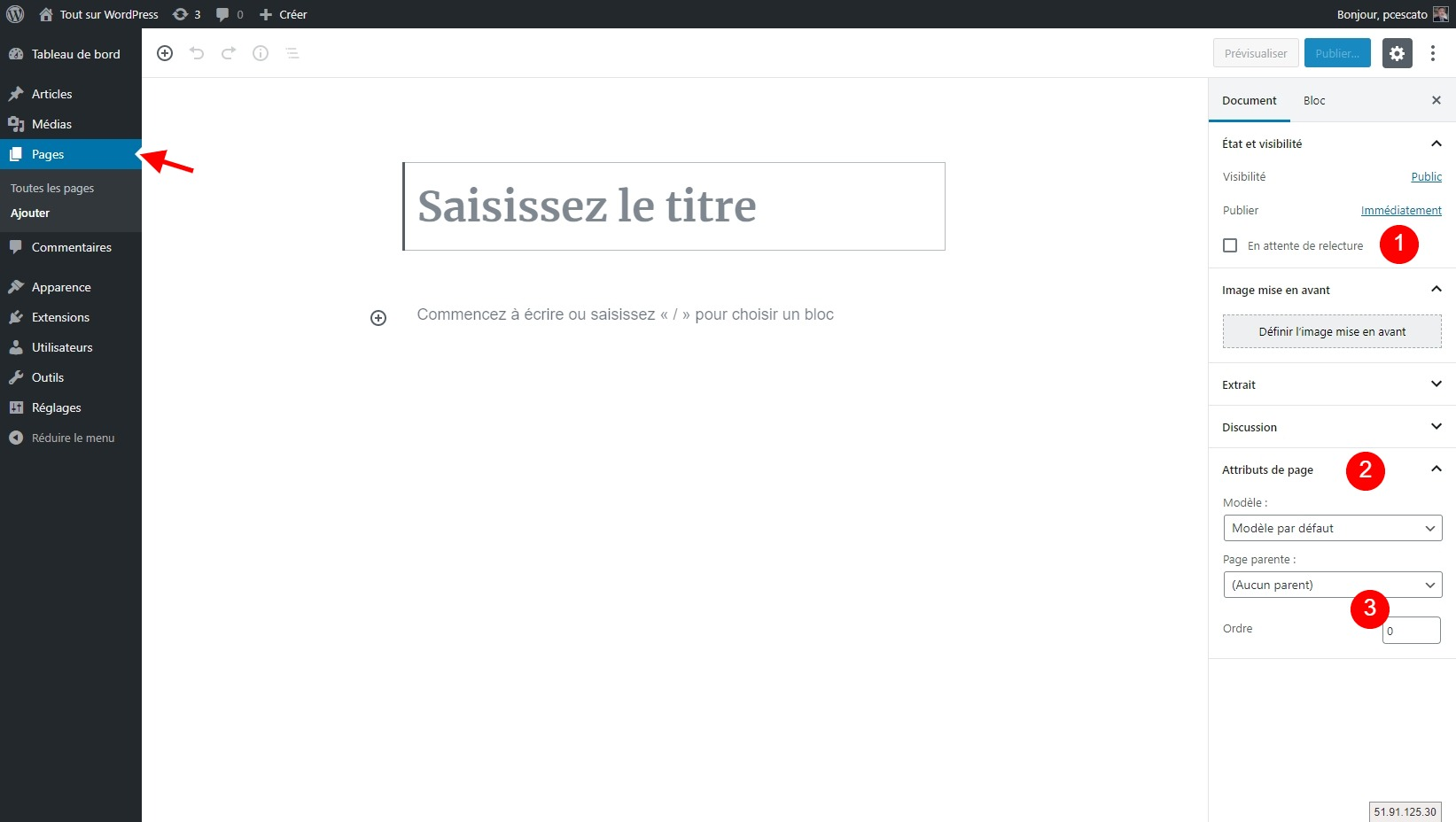 Interface d'édition d'une page